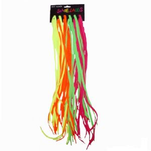 24 x Pairs Coloured Neon Shoelaces Bright Flat 100cm Pink Green Orange Yellow Wholesale Bulk Buy